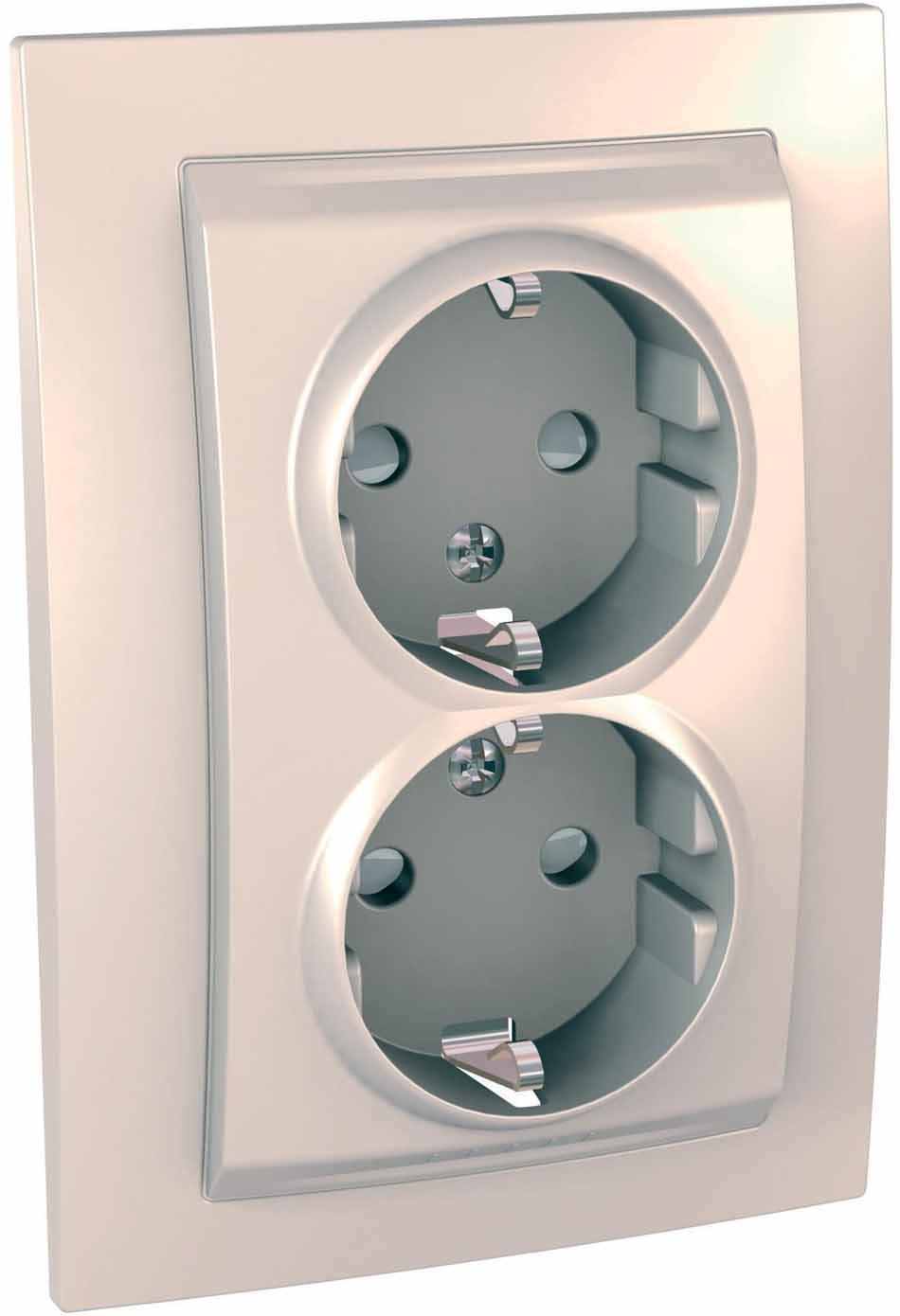 Розетка Schneider Electric Unica, двухместная, с заземлением, с защитными шторками, цвет: бежевый. MGU23.067.25D розетка abb bjb basic 55 шато 2 разъема с заземлением моноблок цвет чёрный