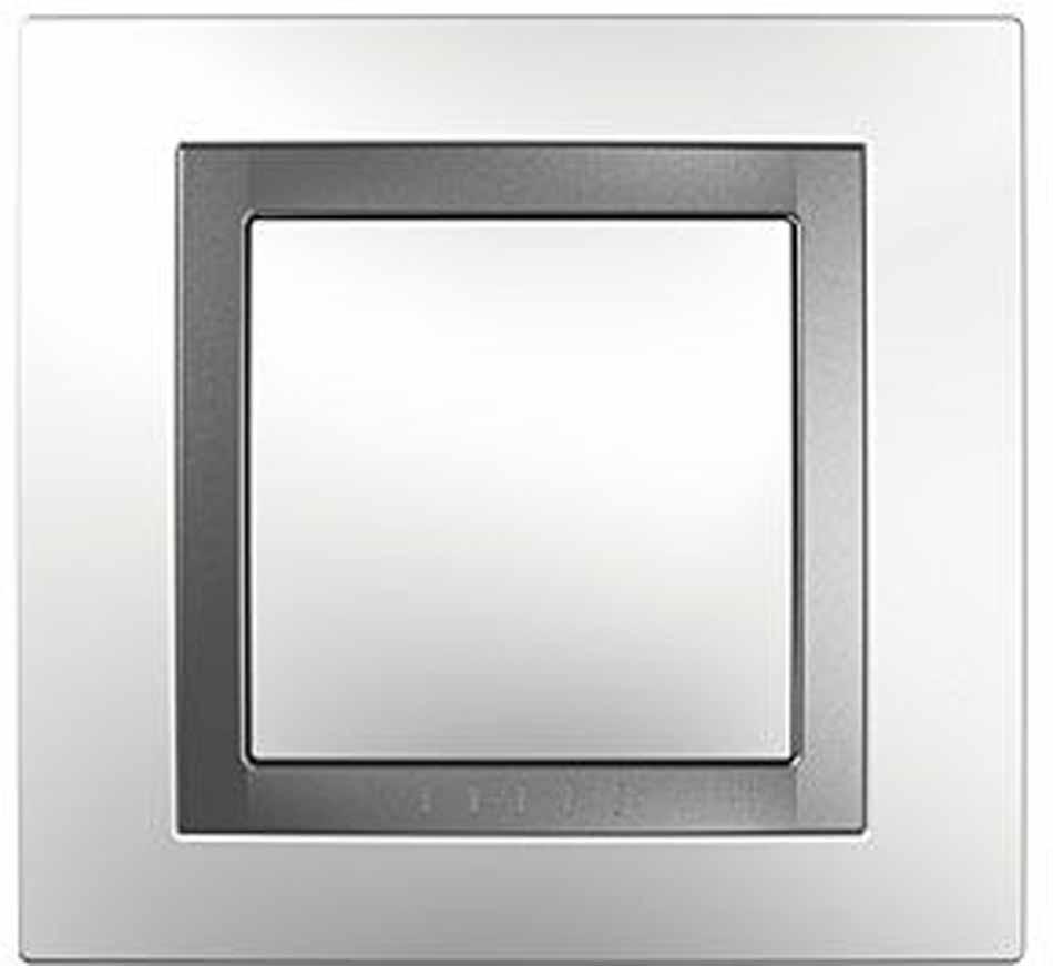 Рамка электроустановочная Schneider Electric Unica, на 1 пост, цвет: серебро. MGU4.000.60 рамка для розеток и выключателей горизонтальная 1 пост цвет бежевый