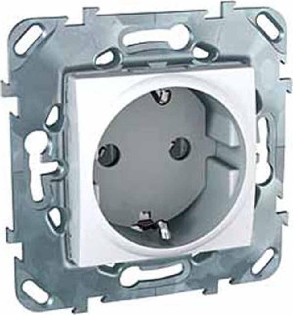Розетка Schneider Electric Unica, одноместная, с заземлением, цвет: белый. MGU5.036.18ZD розетка duwi дельта для скрытой проводки одноместная цвет серебристый