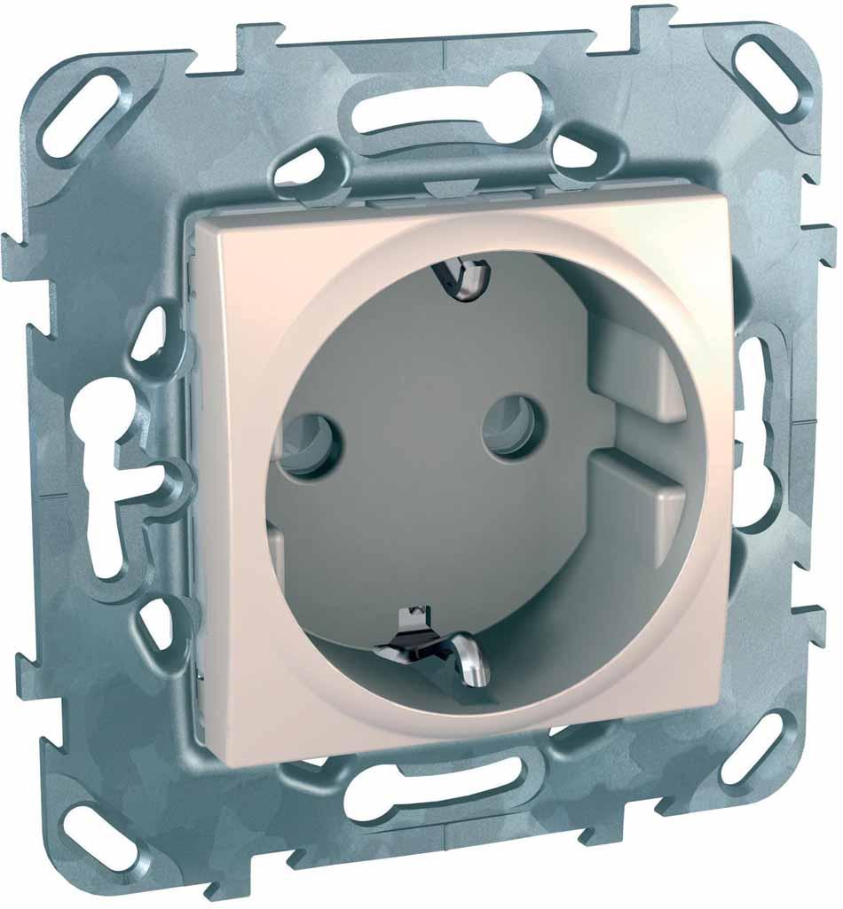 Розетка Schneider Electric Unica, одноместная, с защитными шторками, цвет: бежевый. MGU5.037.25ZD розетка duwi дельта для скрытой проводки одноместная цвет серебристый