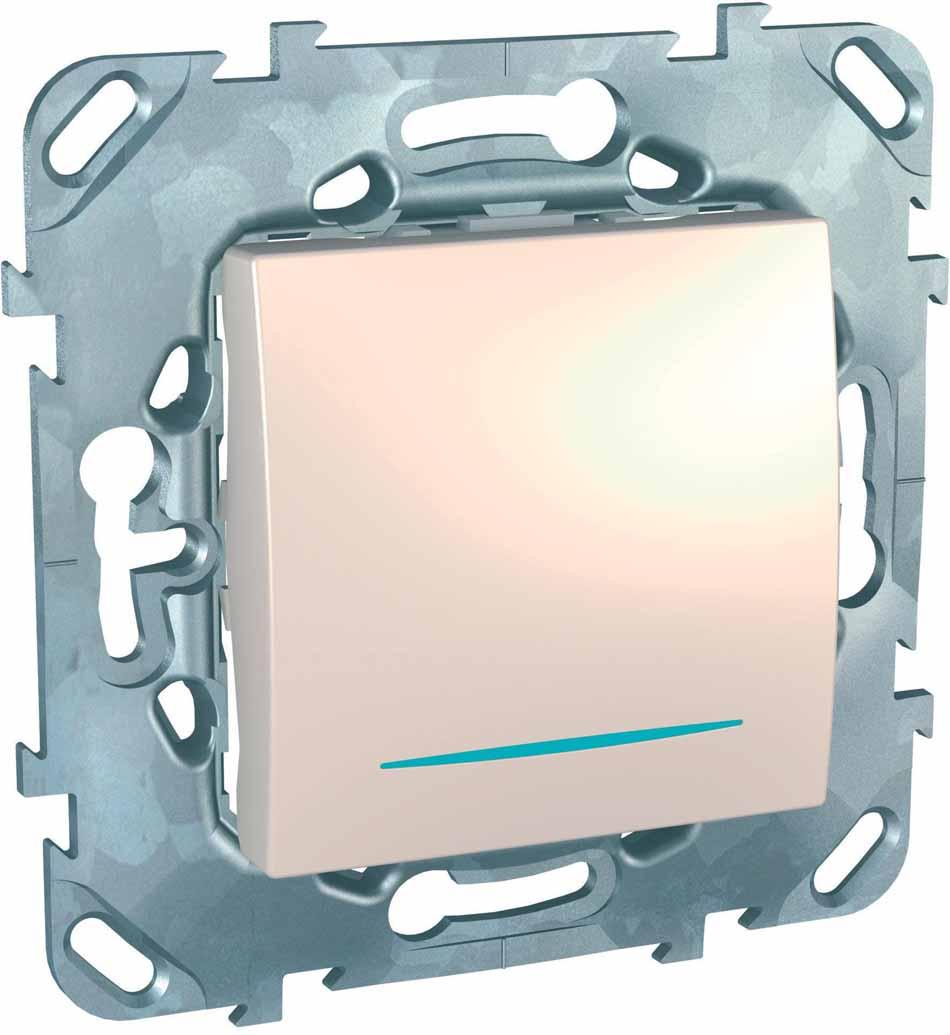 Переключатель Schneider Electric Unica, одноклавишный, с подсветкой, цвет: бежевый. MGU5.203.25NZD переключатель simon electric одноклавишный цвет бежевый 16а 250в