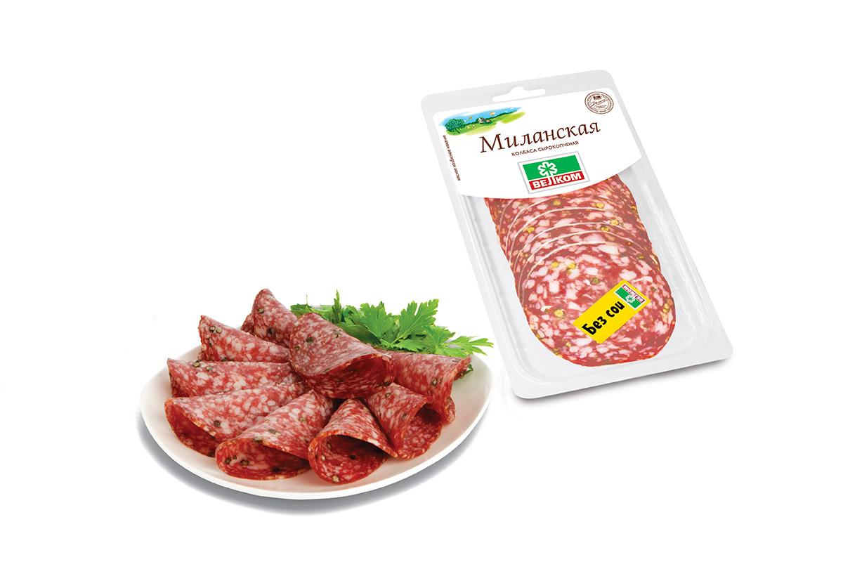 Велком Колбаса Миланская сырокопченая, 150 г велком колбаса брауншвейгская сырокопченая 150 г