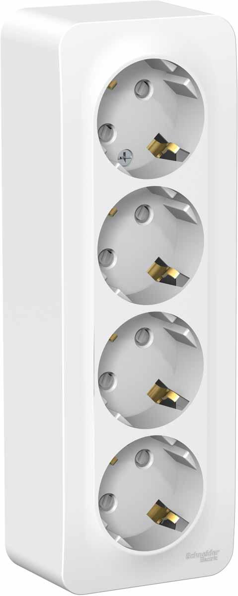 Розетка Schneider Electric Blanca, четырехместная, с заземление, с защитными шторками, цвет: белый. SE BLNRA011411 вызывная панель schneider electric blanca переговорное устройство цвет белый se blnda000011