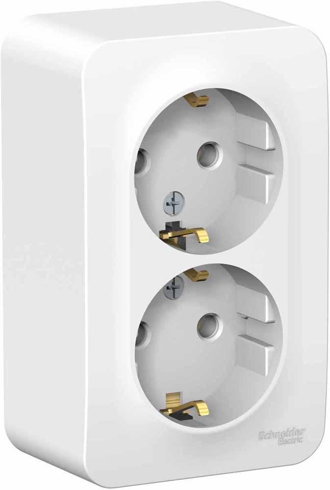 Розетка Schneider Electric Blanca, двухместная, с заземлением, 16А, цвет: белый. SE BLNRA010211 вызывная панель schneider electric blanca переговорное устройство цвет белый se blnda000011