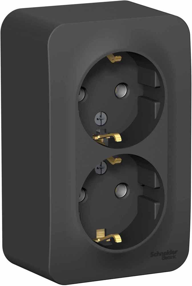 Фото - Розетка Schneider Electric Blanca, двухместная, с заземлением, 16А, цвет: антрацит. SE BLNRA010216 переключатель schneider electric blanca одноклавишный цвет антрацит 10 а se blnva106016