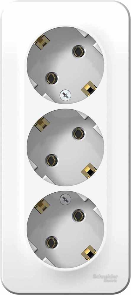 Розетка Schneider Electric Blanca, трехместная, с заземлением, цвет: белый. SE BLNRA010311 вызывная панель schneider electric blanca переговорное устройство цвет белый se blnda000011