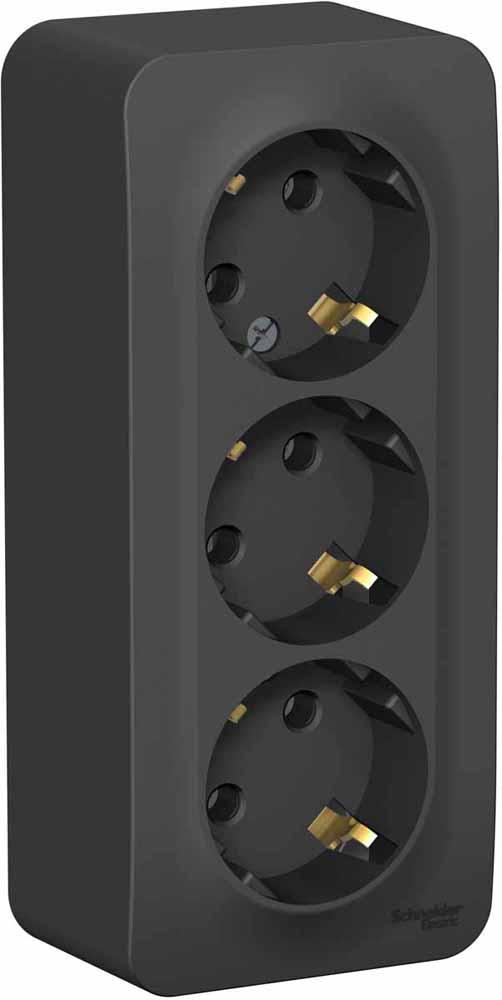 Фото - Розетка Schneider Electric Blanca, трехместная, с заземлением, цвет: антрацит. SE BLNRA010316 переключатель schneider electric blanca одноклавишный цвет антрацит 10 а se blnva106016