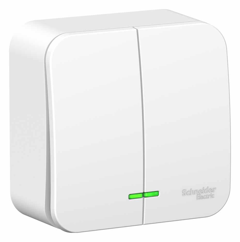Выключатель Schneider Electric Blanca, двухклавишный, 10А, с подсветкой, цвет: белый. SE BLNVA105111 вызывная панель schneider electric blanca переговорное устройство цвет белый se blnda000011