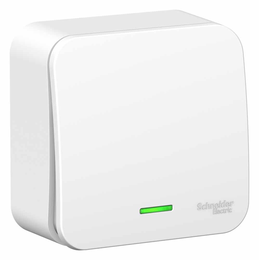 Выключатель Schneider Electric Blanca, одноклавишный, с подсветкой, 10А, цвет: белый. SE BLNVA106111 проходной выключатель schneider electric w59 белый сп одноклавишный с рамкой vs616 156 18
