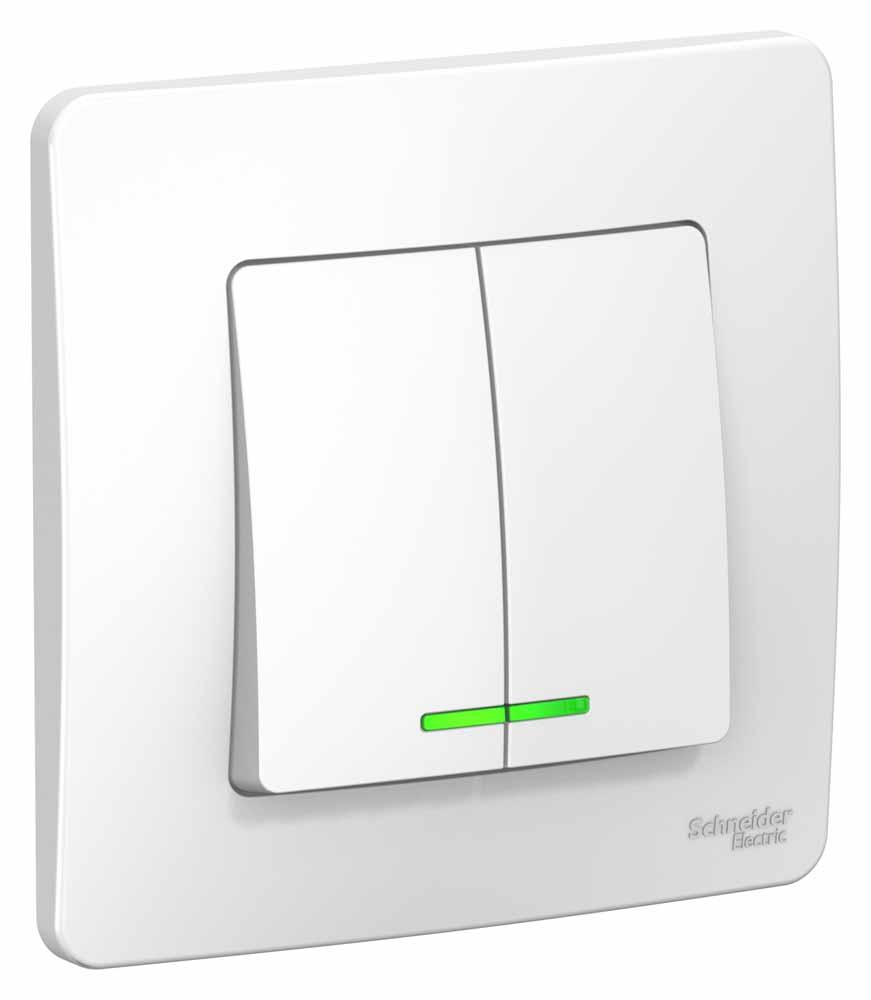 Выключатель Schneider Electric Blanca, двухклавишный, с подсветкой, цвет: белый, 10 А. SE BLNVS010511 вызывная панель schneider electric blanca переговорное устройство цвет белый se blnda000011