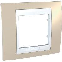 Рамка электроустановочная Schneider Electric Unica, на 1 пост, цвет: песчаный, белый. MGU6.002.867 рамка для розеток и выключателей горизонтальная 1 пост цвет бежевый