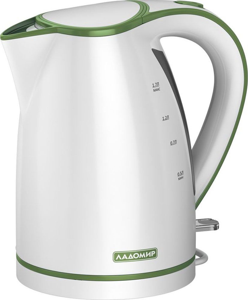 лучшая цена Электрический чайник Ладомир 327, цвет белый зеленый
