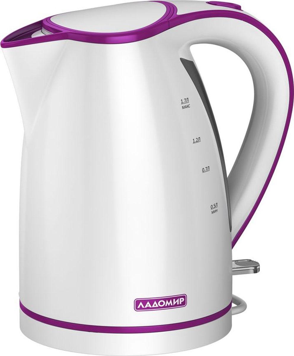 лучшая цена Ладомир 327 чайник электрический, цвет белый фиолетовый