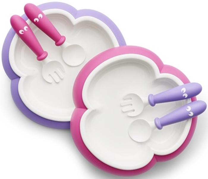 BabyBjorn Набор детской посуды цвет розовый лиловый 6 предметов набор посуды babybjorn 2 тарелки 2 ложки 2 вилки в упаковке розовый лиловый