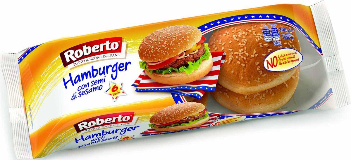 Roberto Булочки для гамбургеров с кунжутом 6 шт, 300 г булка коломенское булочки сдобные с кардамоном 200 г
