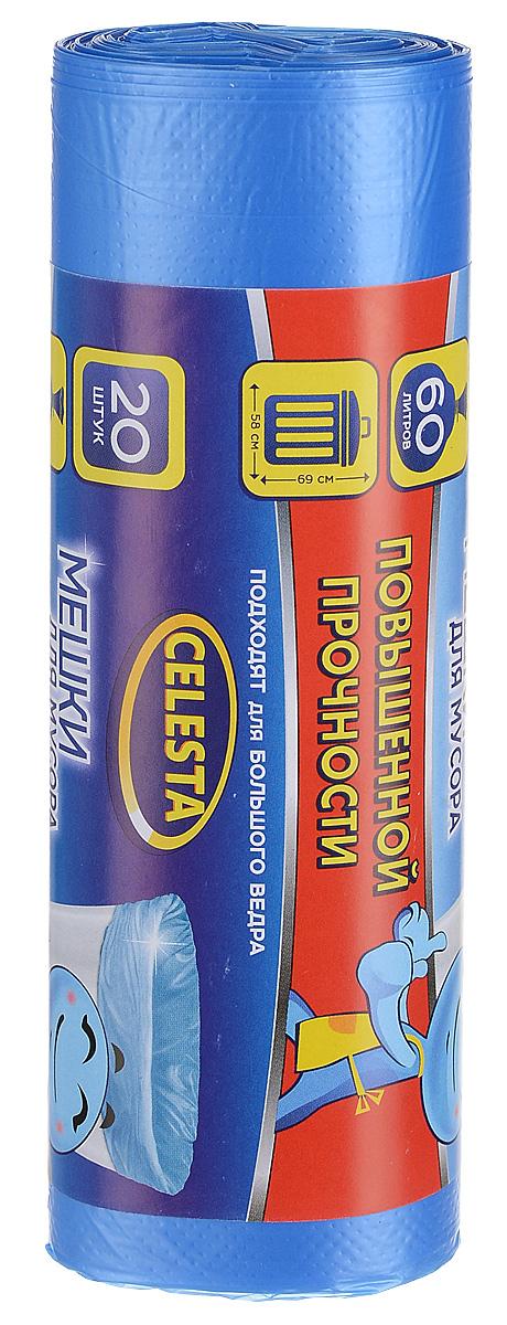 Мешки для мусора Celesta, цвет: синий, 60 л, 20 шт мешки для мусора celesta с ушками 60 л 16 шт