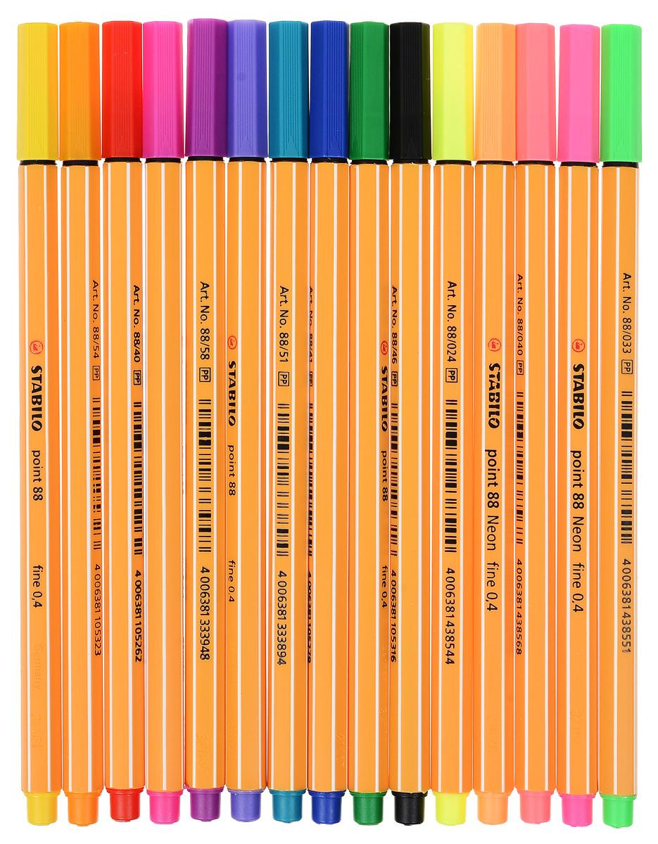 Stabilo Набор капиллярных ручек Point 88 15 цветов stabilo ручка капиллярная point 88 цвет чернил зеленый