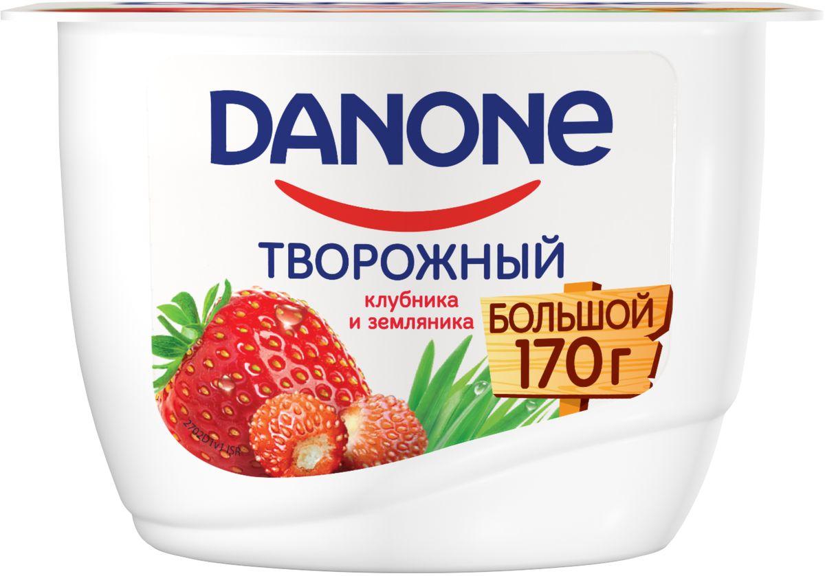Danone Продукт творожный Клубника земляника 3,6%, 170 г danone продукт творожный персик абрикос 3 6% 170 г