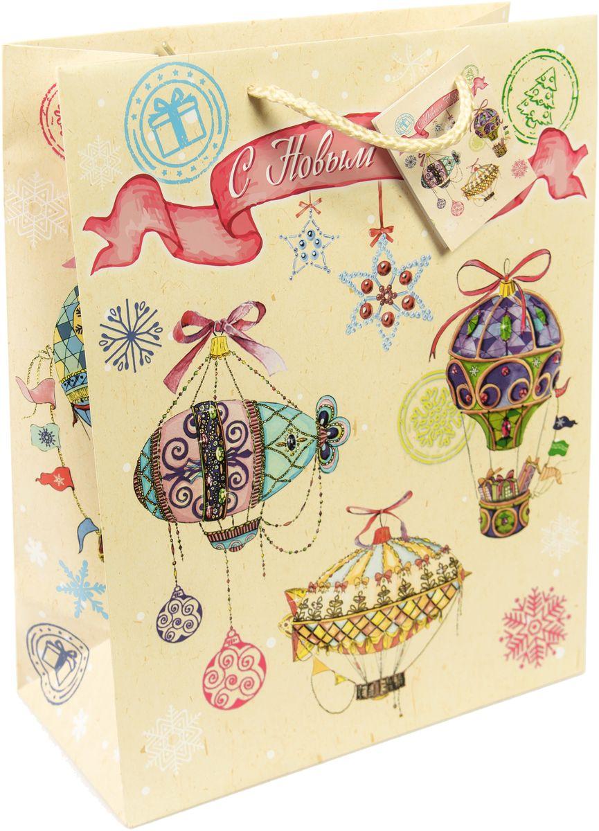 """Пакет подарочный Magic Time """"Новогодние воздушные шары"""", 17,8 х 22,9 х 9,8 см"""