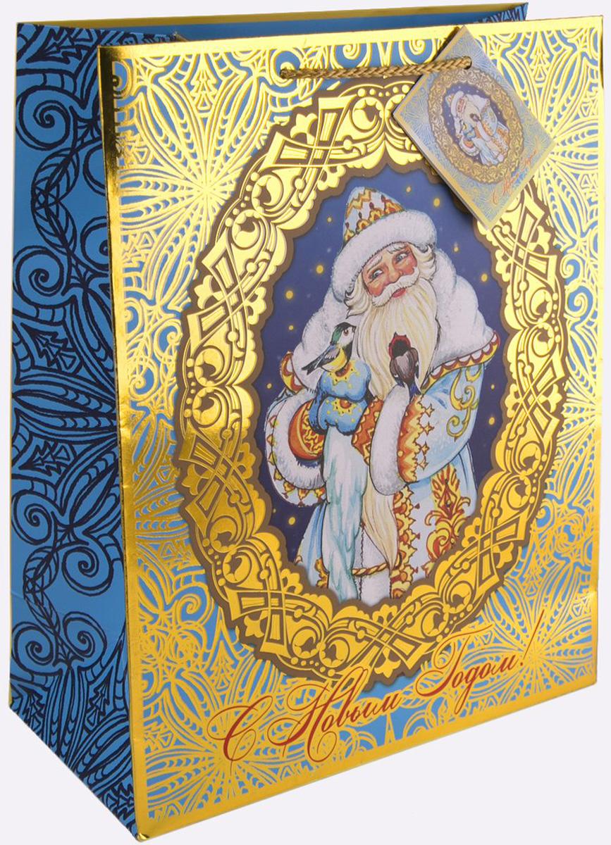 Пакет подарочный Magic Time Дед Мороз и синички, 17,8 х 22,9 х 9,8 см пакет подарочный magic time дед мороз и дети 26 х 32 4 х 12 7 см