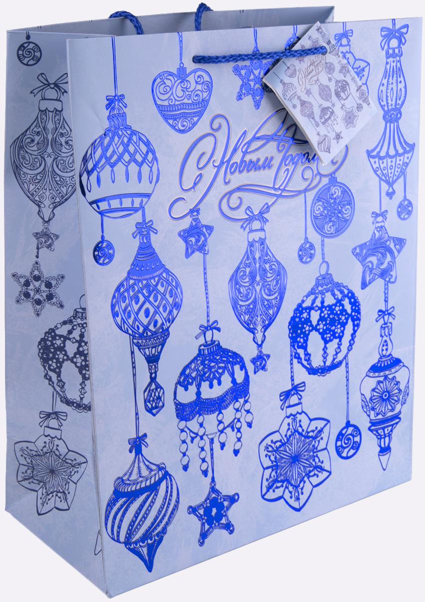 """Пакет подарочный Magic Time """"Синие новогодние шары"""", 17,8 х 22,9 х 9,8 см"""