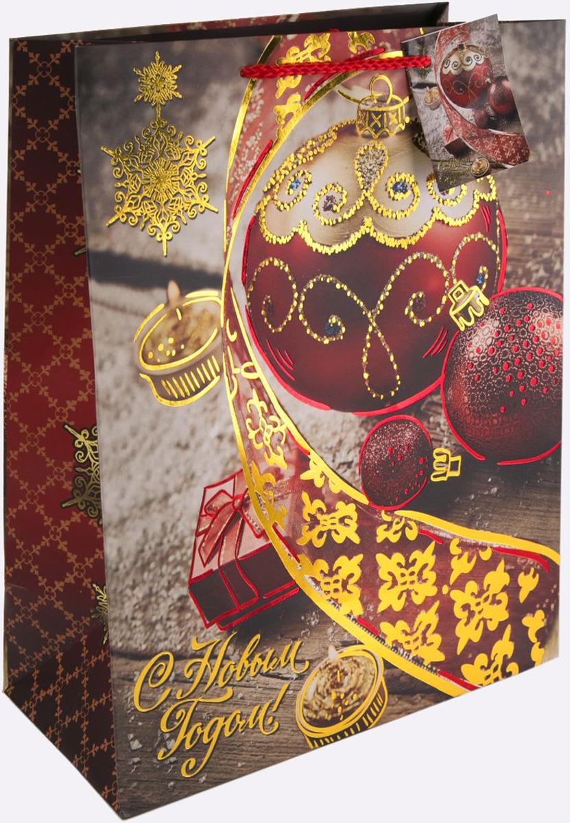 Пакет подарочный Magic Time Красный новогодний шар, 17,8 х 22,9 х 9,8 см пакет подарочный magic time дед мороз и дети 26 х 32 4 х 12 7 см