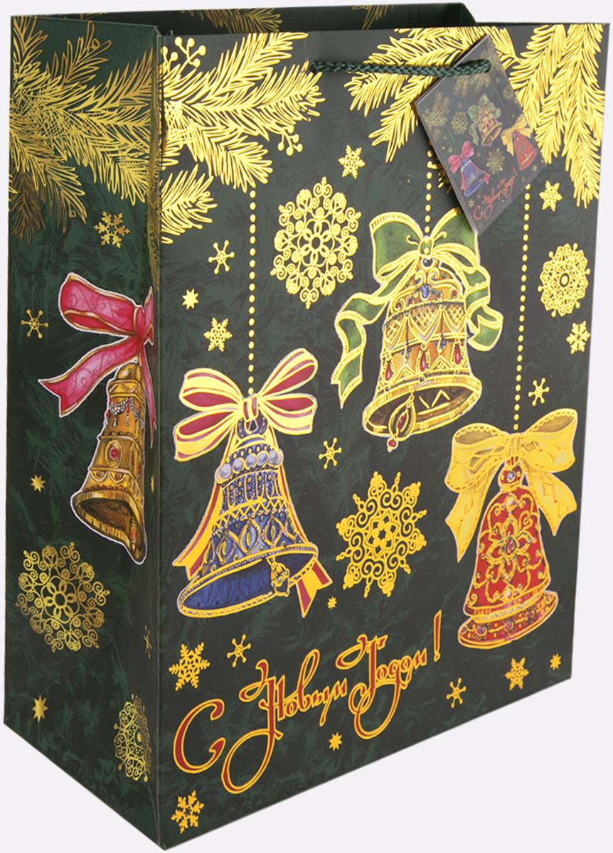 Пакет подарочный Magic Time Елки с колокольчиками, 26 х 32,4 х 12,7 см пакет подарочный magic time дед мороз и дети 26 х 32 4 х 12 7 см