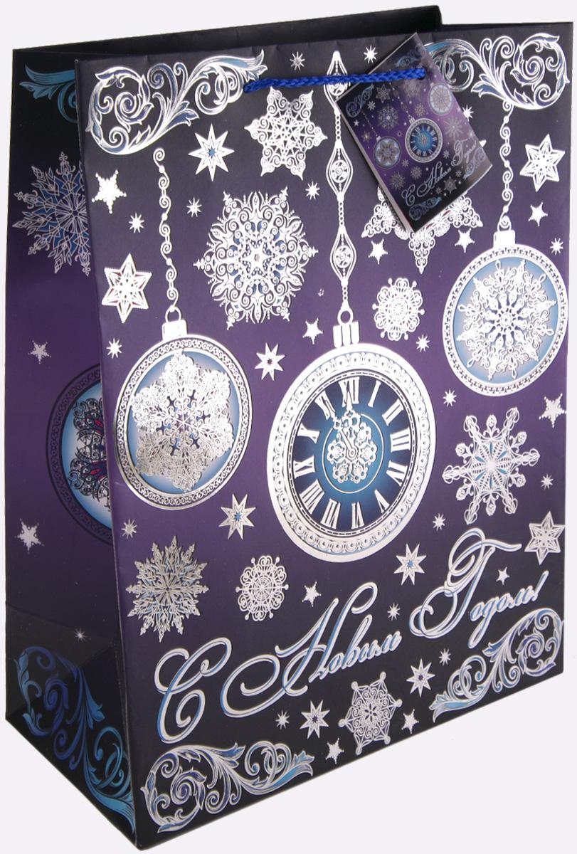 Пакет подарочный Magic Time Часы на фиолетовом, 26 х 32,4 х 12,7 см пакет подарочный magic time дед мороз и дети 26 х 32 4 х 12 7 см