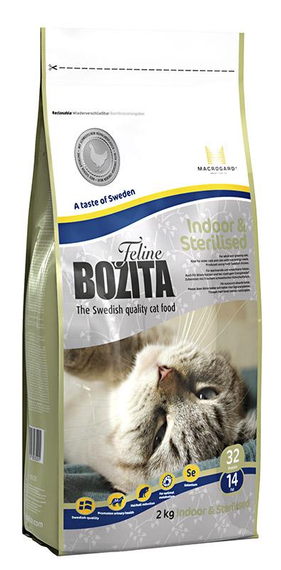 """Корм сухой Bozita """"Feline Indoor & Sterilised"""", для взрослых и пожилых кошек, кастрированных котов и стерилизованных кошек, 2 кг"""