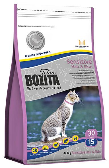 """Фото Корм сухой Bozita """"Feline Sensitive Hair & Skin"""", для взрослых и растущих кошек, для здоровой кожи и блестящей шерсти, 400 г"""
