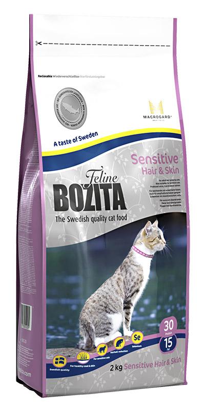 """Фото Корм сухой Bozita """"Feline Sensitive Hair & Skin"""", для взрослых и растущих кошек, для здоровой кожи и блестящей шерсти, 2 кг"""