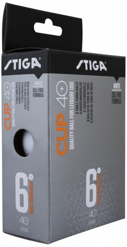 Шарики для пинг-понга Stiga Cup ABS, со швом, цвет: белый, 6 шт цена