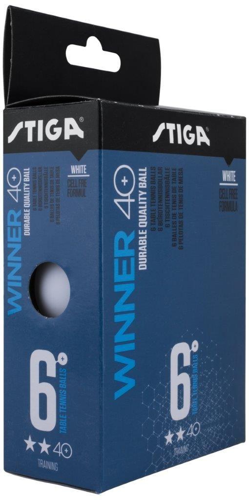 Шарики для пинг-понга Stiga Winner 2-Звезды ABS, со швом, цвет: белый, 6 шт шарики для пинг понга atemi 1 бел белый 6