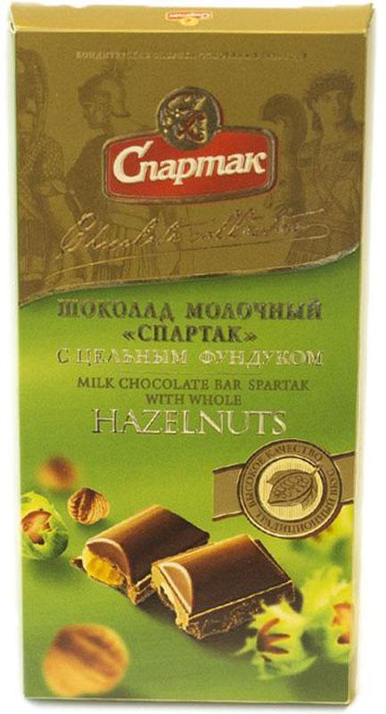 Спартак шоколад молочный с цельным фундуком, 90 г спартак шоколад молочный 500 г