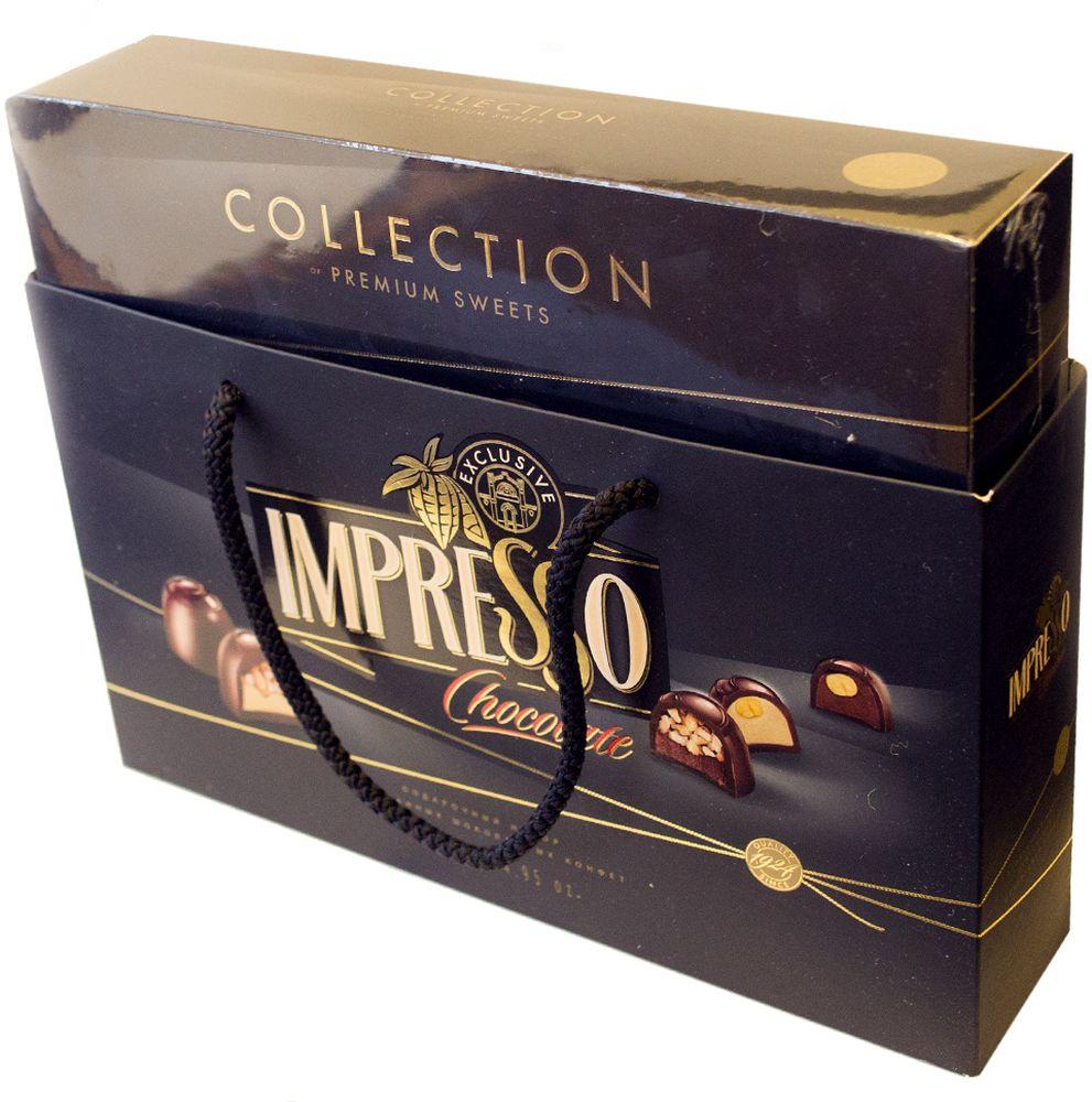 Impresso премиум набор шоколадных конфет черный, 424 г