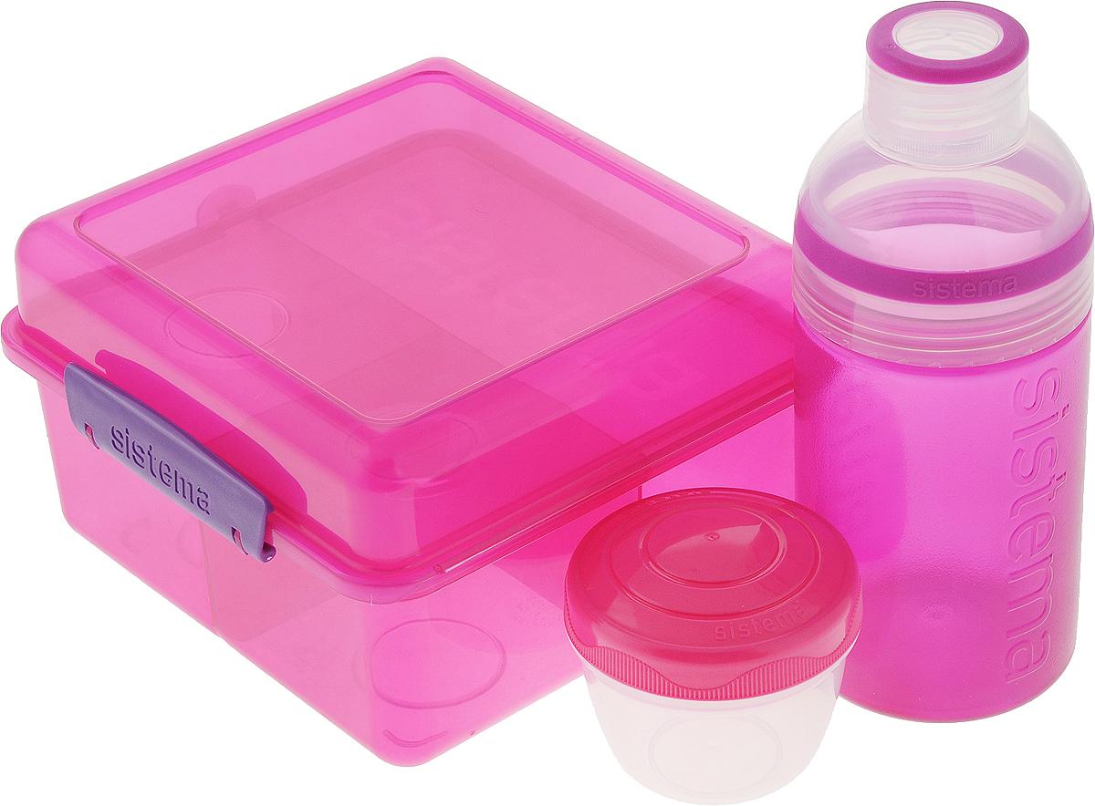 """Набор Sistema """"Lunch"""": ланчбокс 2 л, контейнер 150 мл, бутылка 480 мл, цвет: фуксия. 41580"""