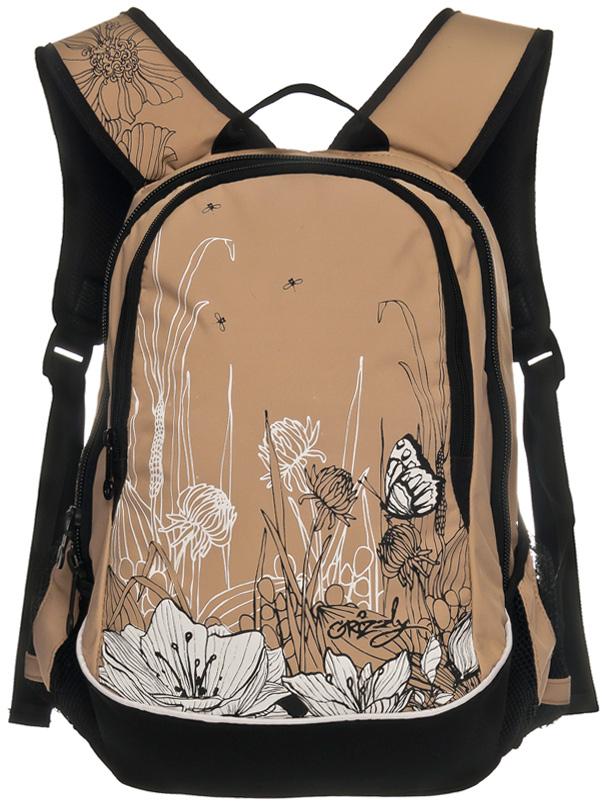 Рюкзак молодежный женский Grizzly, цвет: бежевый, 13 л. RD-756-3/3 рюкзак молодежный женский grizzly цвет серый розовый 12 5 л rd 755 2 2