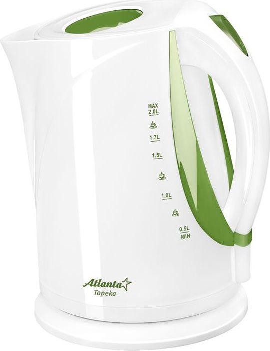 Atlanta ATH-2373, White Green чайник электрический чайник электрический atlanta ath 2373 белый голубой