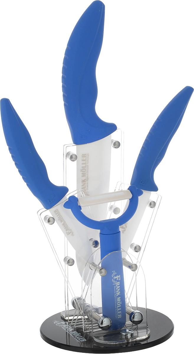 Набор керамических ножей Frank Moller, на подставке, 5 предметов, цвет: синий. FM-368 набор ножей frank moller fm 406