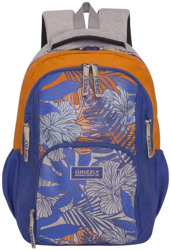 Рюкзак молодежный женский Grizzly, цвет: синий, серый, желтый, 15,5 л. RD-754-1/4 рюкзак молодежный женский grizzly цвет серый розовый 12 5 л rd 755 2 2
