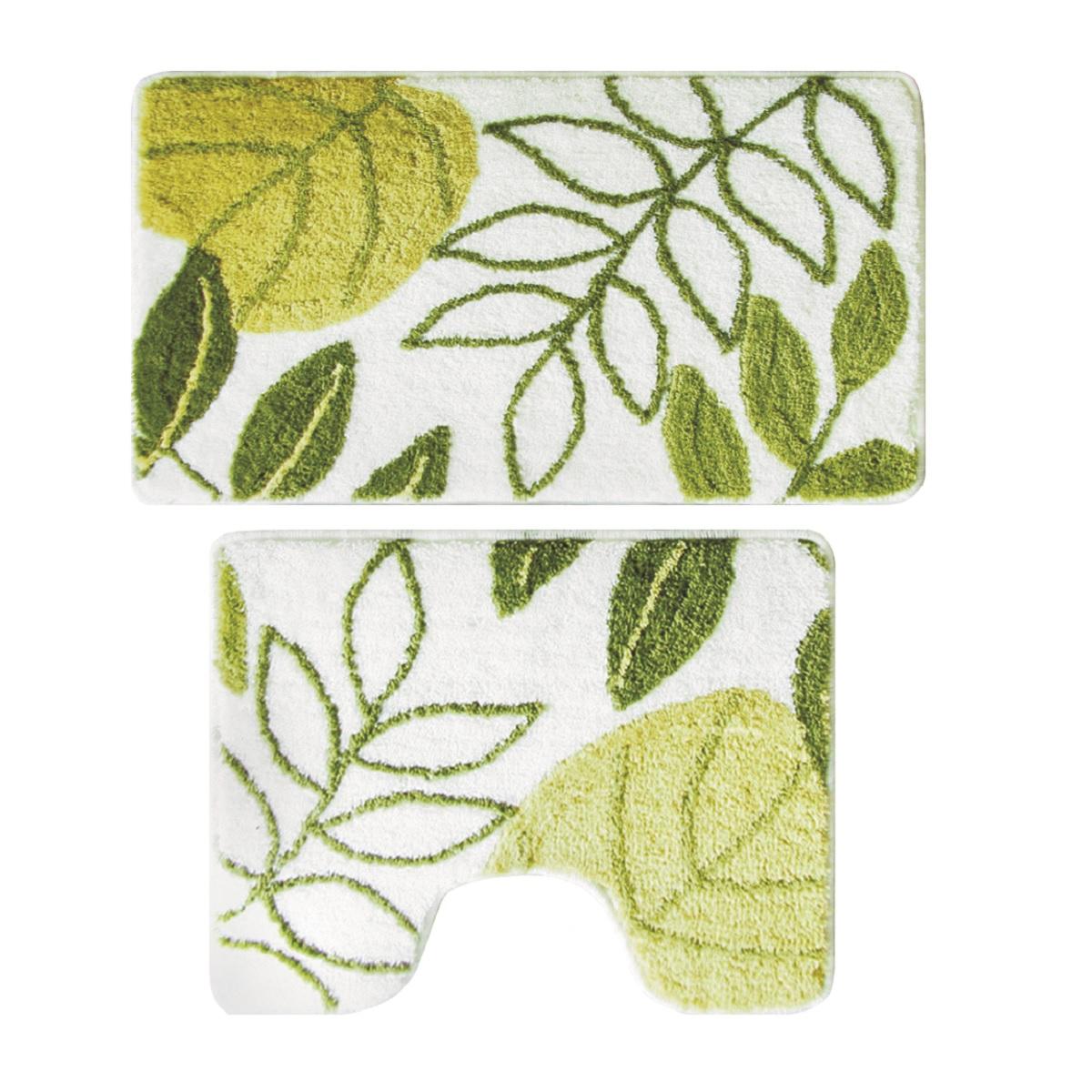 """Набор ковриков для ванной Milardo """"Waiting for Spring"""", цвет: зеленый, 50 х 80 см, 50 х 50 см, 2 шт"""