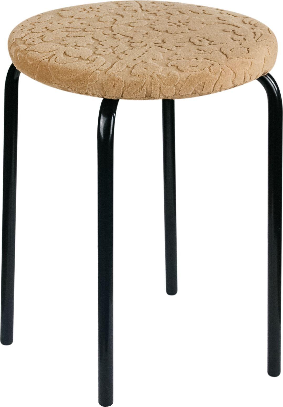Чехол на табурет Медежда Челтон, круглый, с подушкой, цвет: бежевый чехол на двухместный диван медежда лидс цвет бежевый