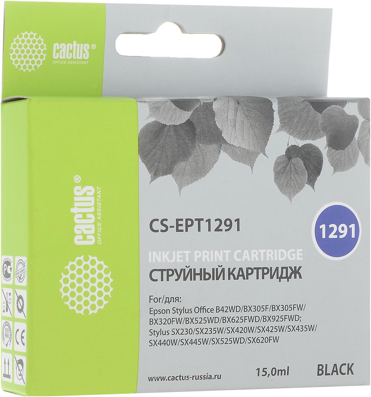Cactus CS-EPT1291, Black струйный картридж для Epson Stylus Office B42/BX305/BX305F/BX320 комплект перезаправляемых картриджей cactus cs r ept1295 для epson stylus office b42 bx305 bx305f