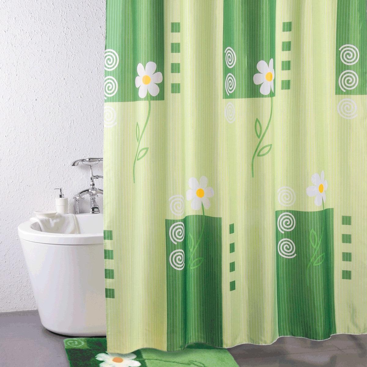 Штора для ванной Iddis Summer Day, цвет: зеленый, 180 x 200 см штора для ванной комнаты из полиэстера iddis summer stripes 290p24ri11