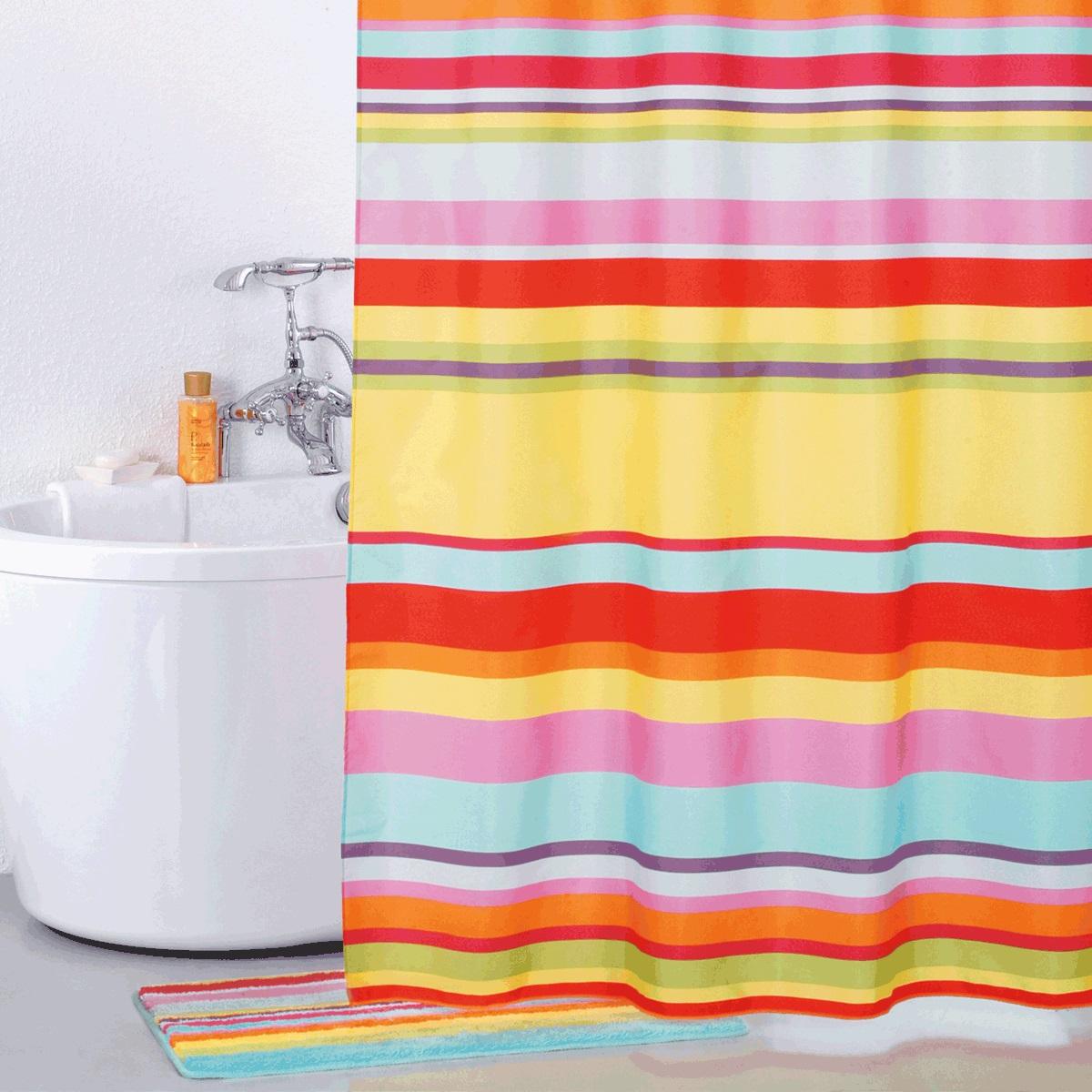 Штора для ванной Iddis Summer Stripes, цвет: мультиколор, 200 x 200 см штора для ванной iddis blue butterfly цвет голубой 200 x 200 см