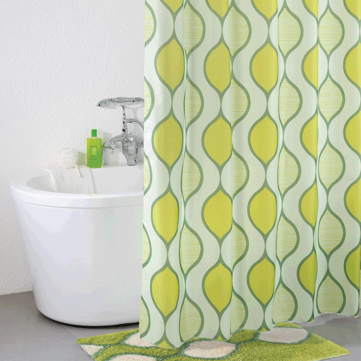 Штора для ванной Iddis Curved Lines Green, цвет: зеленый, 200 x 200 см iddis curved lines green 402a580i12