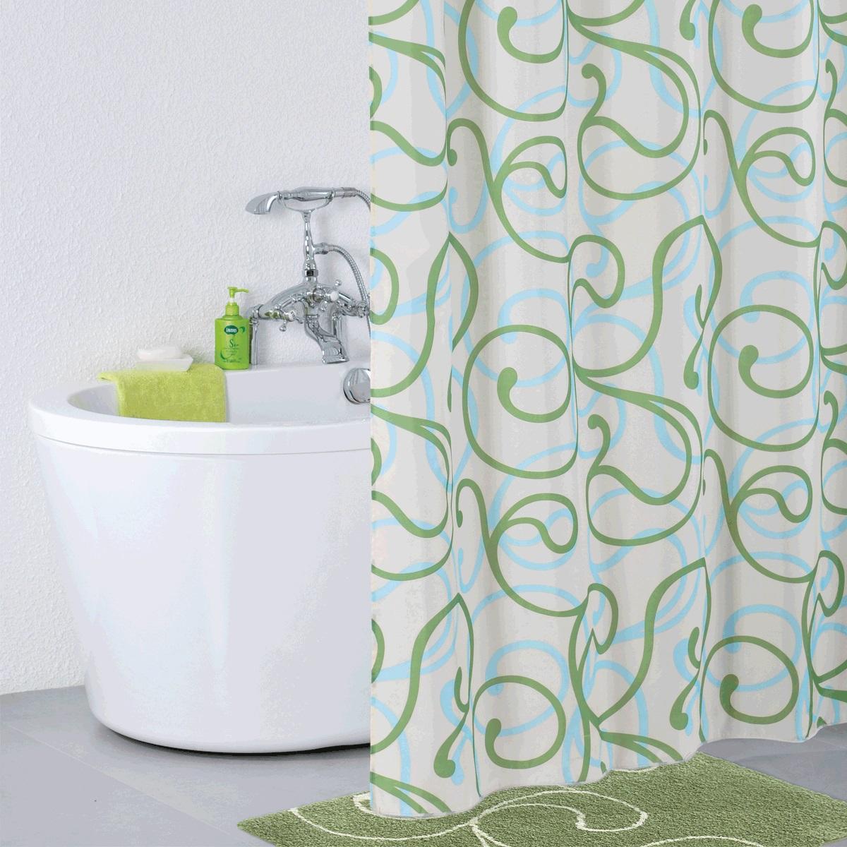 Штора для ванной Iddis Flower Lace Green, цвет: белый, зеленый, 200 x 200 см штора для ванной iddis blue butterfly цвет голубой 200 x 200 см