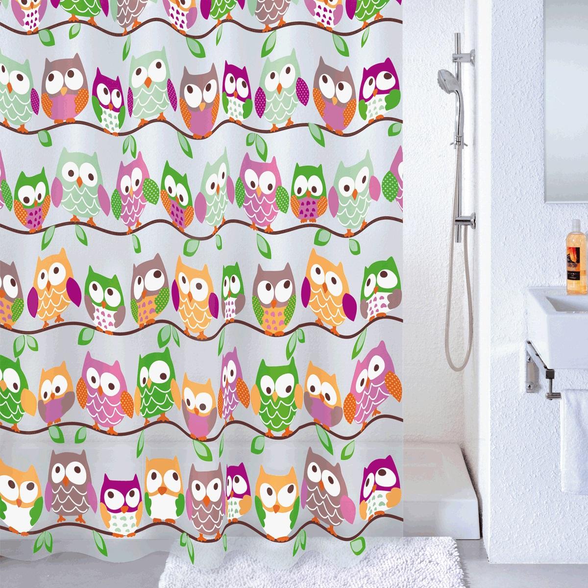 "Фото Штора для ванной Milardo ""Cheeky Owls"", цвет: мультиколор, 180 x 180 см"