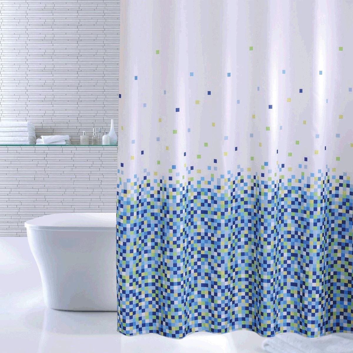 Штора для ванной Iddis Blue Pixels, цвет: синий, 180 x 200 см штора для ванной iddis blue butterfly цвет голубой 200 x 200 см