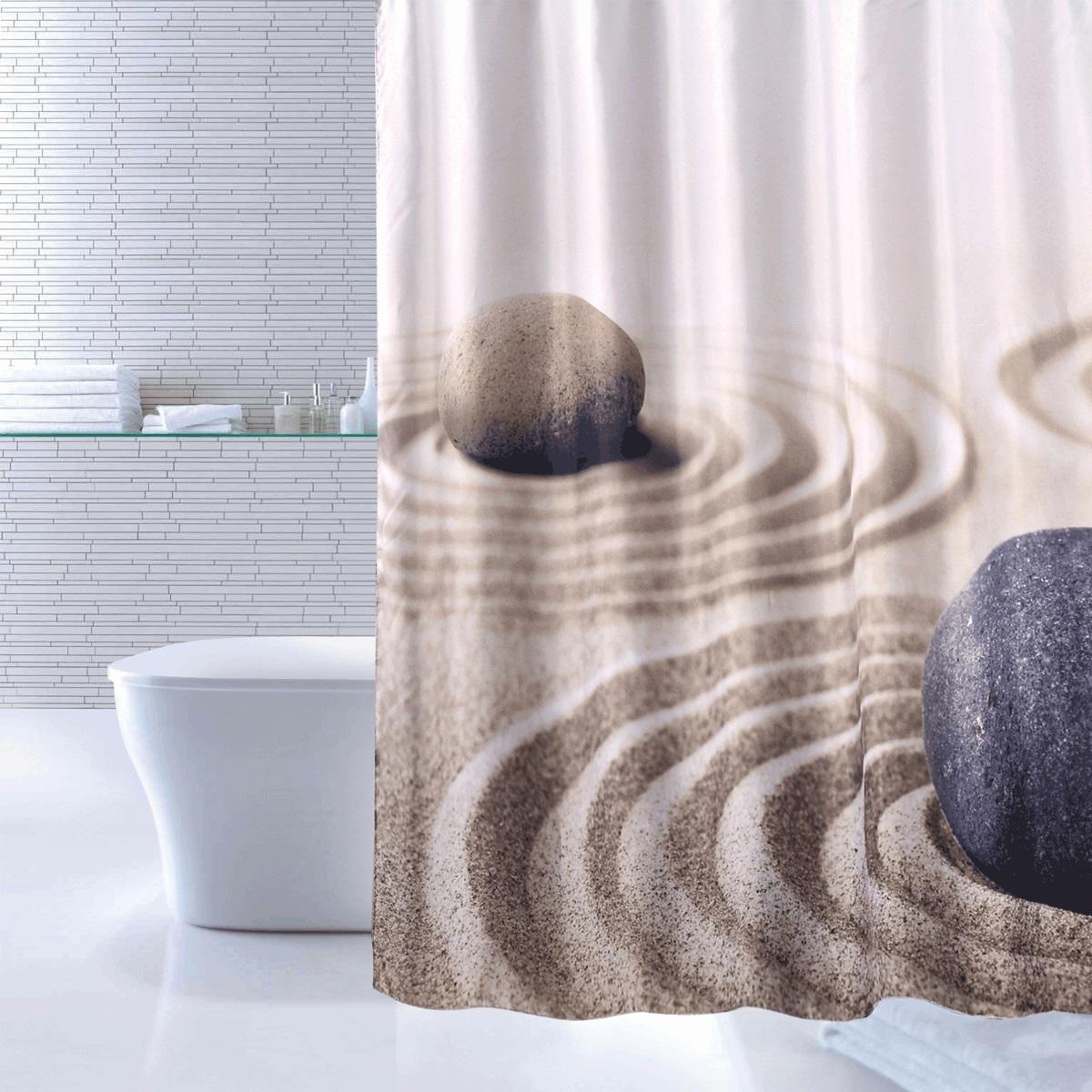 Штора для ванной Iddis Sandy, цвет: бежевый, 180 x 200 см штора для ванной комнаты iddis sandy 640p18ri11
